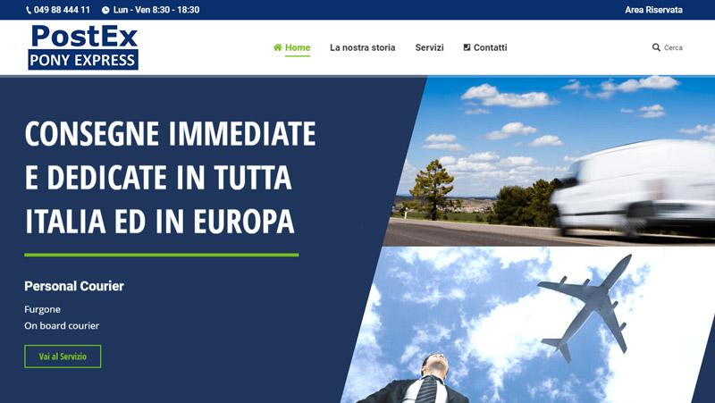 La Homepage del sito di PostEx Padova
