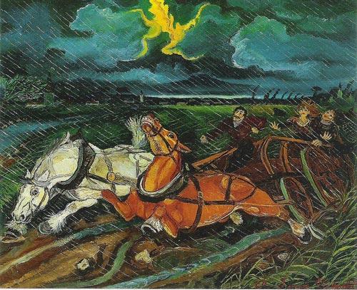Antonio Ligabue cavalli con temporale