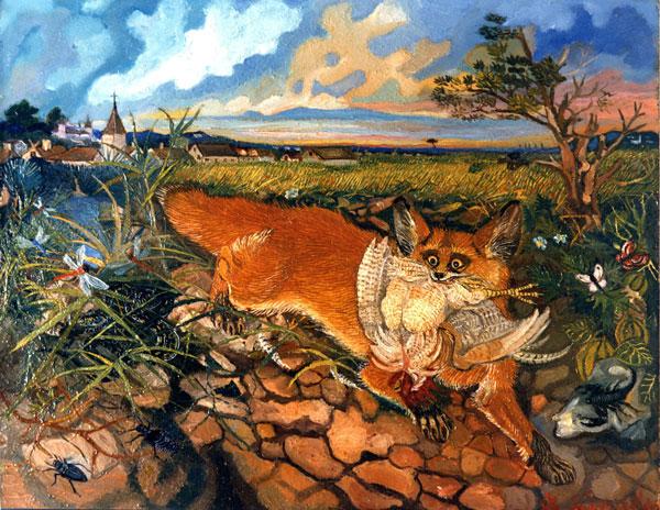 Antonio Ligabue volpe in fuga olio su tavola di faesite