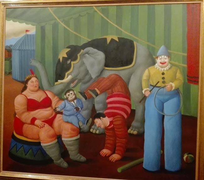 Gente del circo con Elefante 2007 Botero