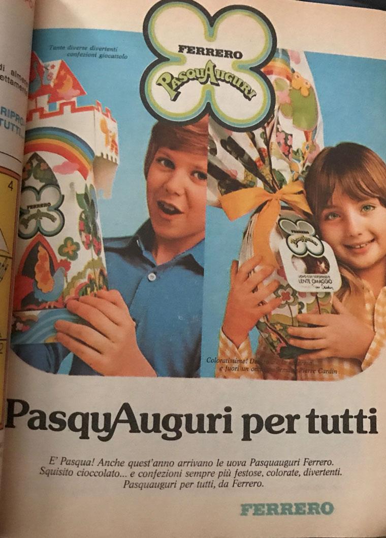 advertising Ferrero pasqua 1690 1970