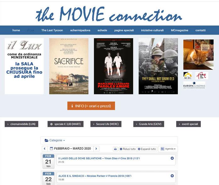 calendario proiezioni film sito web