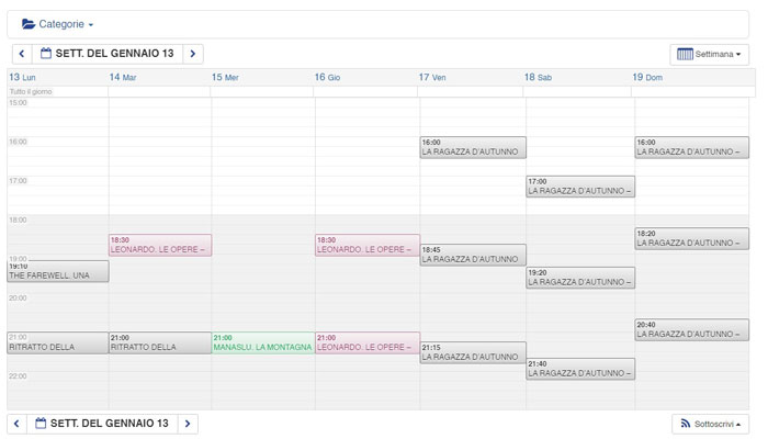 sito web calendario programmazione giorno e orario