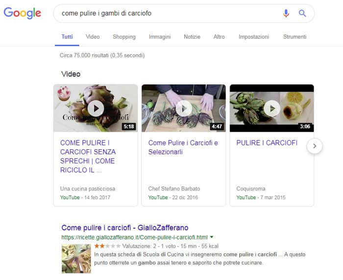 video ricerca Google