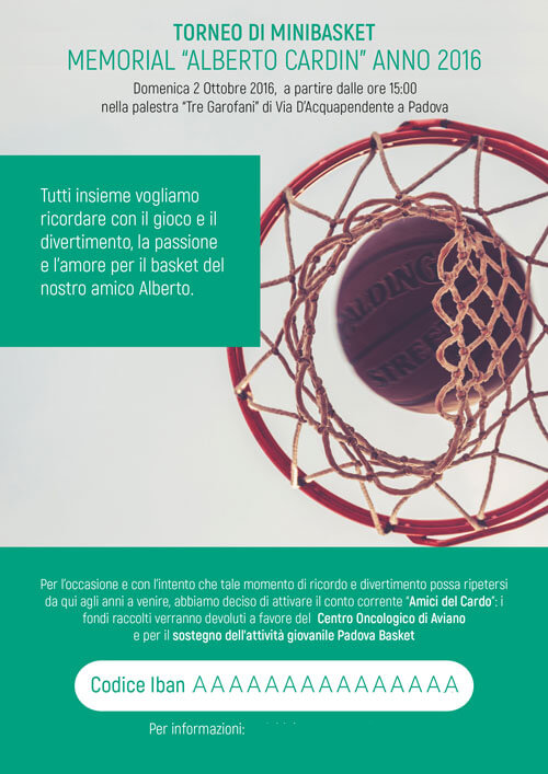 volantino benefico basket