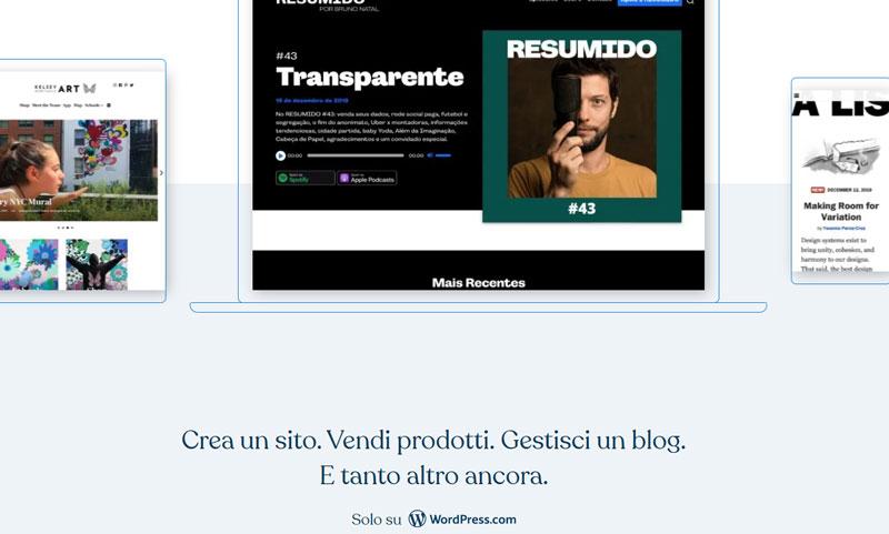 wordpress com schermata iniziale