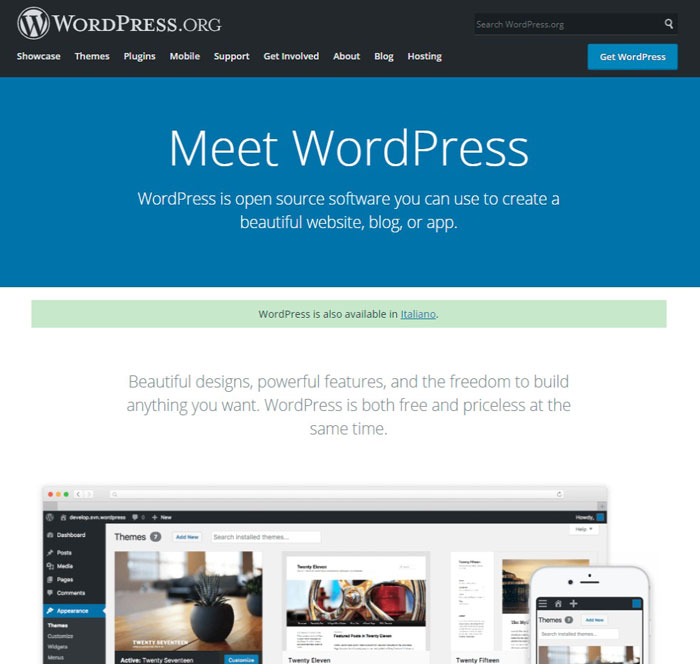 wordpress.org schermata iniziale